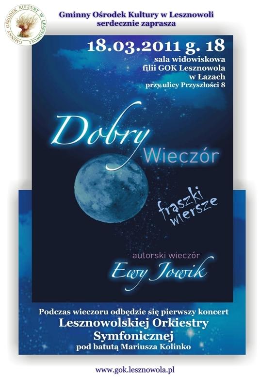 Dobry Wieczór Wiersze I Fraszki Ewy Jowik W łazach Piaseczno